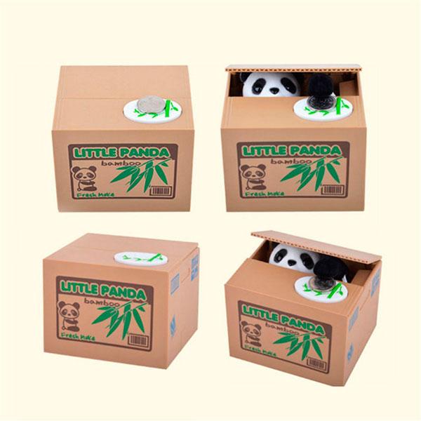 интерактивная копилка коробка панда-воришка